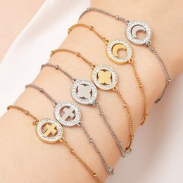 Discount stainless steel letters for bracelets - MWM 2019 letter stainless steel bracelets for girl women heart crystal chain bracelet men accessories gold silver couple