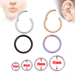 Piercing Nose Surgical Australia - Surgical Steel Stud Earrings Septum Clicker Nose Circle Hinge Segment Ear Helix Tragus Closed Nose Nail Piercing Multiple Colour