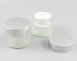 Frosting cream online shopping - 300pcs Refillable ml Frosted Clear Round Glass Make up cream Mask Jar Pot g with Aluminium screw cap white inner lid
