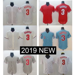 084213050d9 2019 New Phillies 3 Bryce Haper Jersey Philadelpha Blue white Cream Red Grey  Flexbase Cool Base baseball Jerseys