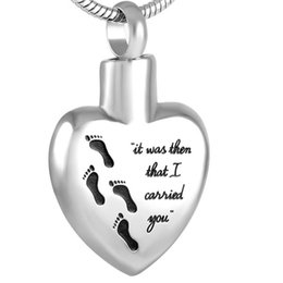 """$enCountryForm.capitalKeyWord Australia - IJD8466 """"it was then that I carried you"""" Stainless Steel Keepsake Jewelry Foot print Heart Cremation Necklace for Human Ashes"""