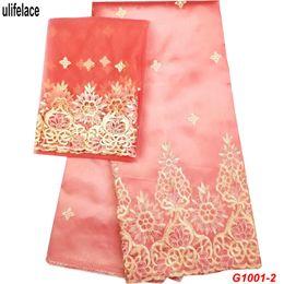Nigerian Wedding Dress Designs Australia - African George Lace Indian Design For Nigerian Wedding Dress Tissu Sequined Gold Line Embroidered George Lace Silk Fabrics G1001