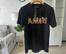 Wholesale hawaiian sleeve shirts resale online – hawaiian shirt new Men s amiri T Shirts For Men Brand Letter Top Women Autumn Spring crocodile shirt