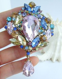 "water drop brooches Australia - Vintage 3.54"" Multicolor Rhinestone Crystal Teardrop Drop Brooch Pin Pendant EE04082C1"