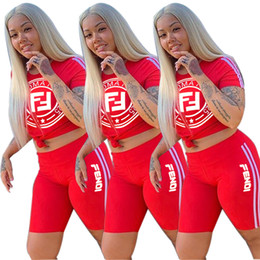 Double Shirt Designs Australia - Women Summer Shorts Tracksuit Double F Letter Design Clothes Set Short Sleeve T shirt+ Shorts Pants Casual Sportswear Outfits S-2XL B4152