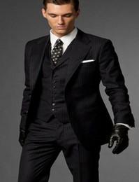 Images Dress Slim NZ - New Design Strips Slim Fit Groom Tuxedos Notch Lapel Two Button Groomsmen Mens Wedding Dress Excellent Man Suit(Jacket+Pants+Vest+Tie) 389