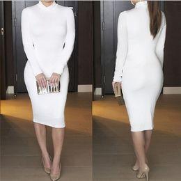 dd06aadd6c0 Plus Size Geometric Bandage Bodycon Dresses Canada - Women Winter Dress  Black Long Sleeve Turtleneck Bandage