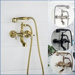 Classic Handle Australia - Antique Brass Wall Mounted Mixer Tap 2 Functions Double Handles Bathroom Bathtub Shower Faucet Set Rainfall Hand Shower