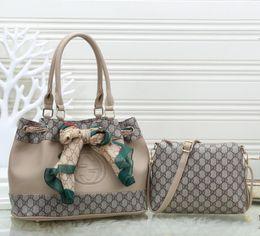 Bag strings online shopping - High quality Women handbag brown Totes Bucket bag ladies Shoulder bag Messenger bags lady clutch purse retro Two piece set