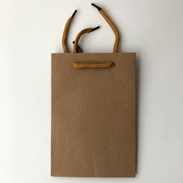 brown paper gifts UK - China Factory Sale Small Cheap Plain Brown Craft Kraft Paper Gift Packaging Bag For Shopping Jewelry With Handle
