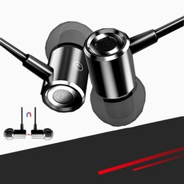 Discount double basses - Metal earphone double bass in-ear mobile earphone sports K song magnetic wire-controlled earphone is suitable for all ki