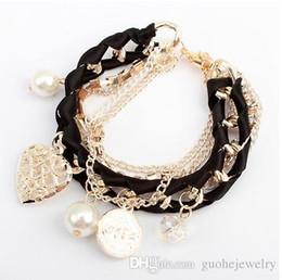 Pearl Bracelet For Men Australia - Bracelets For Women Fashion Gold Pearl Crystal Heart Charm Bracelets & Bangles Pulseiras Femininas Pulseras Bijoux Men Jewelry