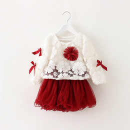 Costume Ball Australia - 2019 spring autumn fashion lace net yarn flowers costumes for kid children clothes ball gown baby girl dresses princess dress