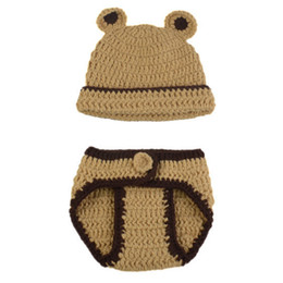 crochet baby animal outfits UK - Adorable Baby Bear Newborn Outfits,Handmade Knit Crochet Baby Boy Girl Animal Bear Beanie and Diaper Cover Set,Infant Halloween Photo Prop