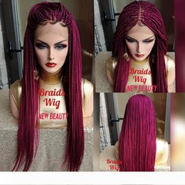 white blonde lace front wigs UK - Hot Braids pink red mirco Braided Wigs with Baby Hair Cheap Braiding hair Heat Resistant Glueless Synthetic Lace Front Wigs for Black Women