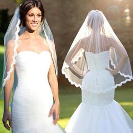 Elbow Length Australia - Elegant Bridal White Ivory 1 Layer Elbow Length Lace Edge Bride Veil Wedding Veil +Comb Bride Veils