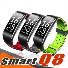 Remote Pressure Australia - wholesale Q8 Fitness smart Tracker Blood Pressure Heart Rate Sleep Camera remote Oxygen Monitor Smart Wristband Bracelet for Andriod and IOS