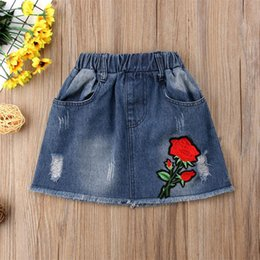 Wholesale roses clothes fashion online – design Baby girls Hole Denim skirts children Embroidered rose skirt Summer fashion Boutique kids Clothing C6092