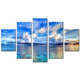 $enCountryForm.capitalKeyWord UK - Blue Canvas Prints Wall Art 5 Panels Seascape Painting Seaside Picture Prints on Canvas Giclee Artwork Modern Home Living Room Hotel Decor