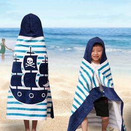 Towels Bathrobes Australia - DIDIHOU 127X76 120X60cm Cartoon Beach Towel Children Animal Printed Striped Towels Bathrobe Absorbent Boy Girl Hooded Bath Towel