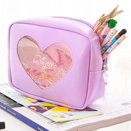$enCountryForm.capitalKeyWord Australia - PU Holographic Travel Cosmetic Makeup Bag Transparent Heart Toiletry Case Wash Pouch Organizer Storage Pink,Silver,Purple