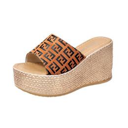 Flops Shoes UK - FF Women Designer Sandals Summer Wedge High Heel Platform sandal Ladies Slide Slipper Brand Fends Flip Flop Luxury beach Shoes C61004