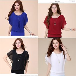 Wholesale clothes for skinny ladies for sale - Group buy Chiffon Short Sleeve T Shirt For Lady Summer Cotta Big Code Skinny Batsleeve Soft Clothes White Purple Black Sizes ld D1