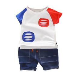 Baby Boy T Shirt Designs Australia - Summer Baby Boys Short Sleeve Hollow Pocket Design Tops Blouse T-shirt+Denim Shorts Casual Outfits Sets Boy Shorts Set
