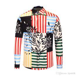 Shirt Stitching Pattern NZ - Latest model casual medusa shirts 2019 Autumn Harajuku Striped stitching printing pattern Fashion Cotton Men's long sleeve shirts