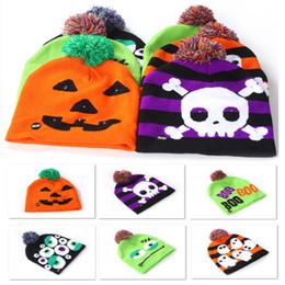 $enCountryForm.capitalKeyWord Australia - Halloween Kids Knitted Hats Led Baby Moms Winter Warm Beanies Crochet Caps For Pumpkin Ghost Skull Festival Party Supplies FA2036