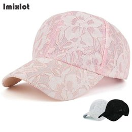 black lace hat Canada - Imixlot Men Women Baseball Cap Lace Floral Adjustable Casual Snapback Sport Hip-Hop Dad Hat Baseball Caps Black Pink White