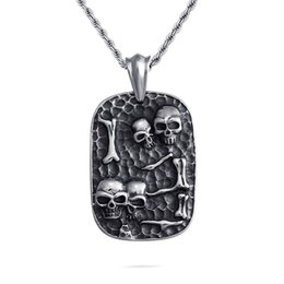 coolest dog tags 2021 - Casting Dog Tag Pendants Necklace Cool Men Military Card Skeleton Pattern 316L Stainless Steel New Fashion Jewelry
