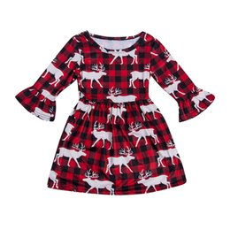 Girl Dress New Xmas bambino del capretto principessa Pageant Tutu Natale Deer Stampa Plaid Dress cosume