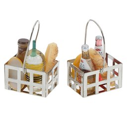 wood toy house wholesale Australia - 5pcs 1:12 Dollhouse Miniature Food Toy Dinning Fruit Metal Coffee Wine Bread Milk Basket Food Doll House Miniature Accessories