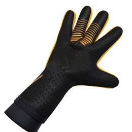 winter football gloves Canada - Professional Soccer Goalkeeper Gloves Black Goalie Football Gloves Man Training Latex Gloves