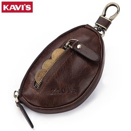 mans purses NZ - KAVIS Coin Purse Genuine Leather Men Wallet Mini Zipper Soft Purses Car Key Bag For Money Pocket Small Holder for Coin Chain