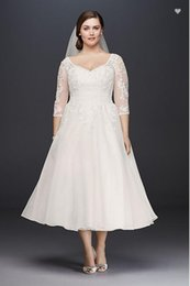 25d9f693545 Vintage Tea Length Plus Size Short Wedding Dress With Sleeves Lace Organza  A-line Informal Bridal Gowns Sleeved Custom Made