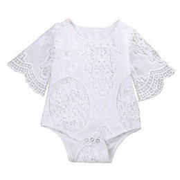 Body Tutu UK - Lace Summer White Baby Girls Romper Newborn Baby Girl Lace Floral Long Sleeve Romper Body suit Jumpsuit Playsuit Sunsuit