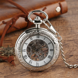 Vintage bronze fob watch online shopping - Steampunk Vintage Pocket Watch Men Women Hand Wind Mechanical Watches Transparent Cover FOB Clock Pendant Chain Gift