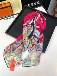 $enCountryForm.capitalKeyWord Australia - Retro Ladies Silk Scarf Bandana Fashion Women Printed Hijab Scarf Leopard Chain Pattern Large Square Scarves Wrap