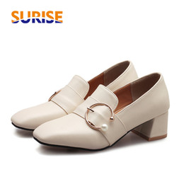 Black Blocks Australia - British Women Loafers Med Block Heels Square Toe Pumps Black White PU Buckle Ring Slip-on Oxfords Casual Party Office Lady Shoes