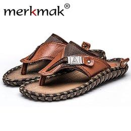 $enCountryForm.capitalKeyWord Australia - Merkmak Men's Flip Flops Summer Beach Sandals Casual Genuine Leather Men Flats Slip-on Slipper Big Size 38-47 Breathable Shoes