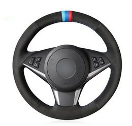 Discount genuine bmw leather - Black Genuine Leather Car Steering Wheel Cover for BMW E60 530d 545i 550i E61 Touring 2005-2009 E63 E64 630i 645Ci 650i