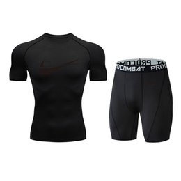 t shirt compression mma UK - Brand men's compression shirt men's gym fitness quick-drying T-shirt suit short-sleeved + shorts sports suit male MMA