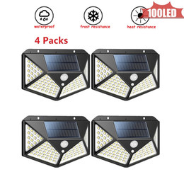 pir sensor home security outdoor Canada - 100 COB LED Solar Powered PIR Motion Sensor Wall lamp Human Body Infrared Light Outdoor Waterproof Home Garden Security Lights 4 sided 270°l