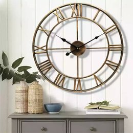 Wholesale Classical style Creative Clocks Modern Living Room Home wall Decor Round Silent Hanging Clock Roman Large Numbers mm