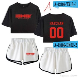 Shirts Low Prices Australia - 2019 new album Nct 127 peripheral beautiful umbilical short-sleeved T-shirt shorts suit women's factory direct supply price low quality