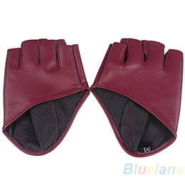 Leather Gloves For Men NZ - Fashion PU Half Finger Lady Leather Lady's Fingerless Driving Show Jazz Gloves for Women Men Black White Red solid color Gloves