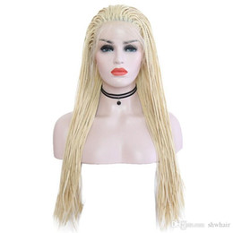 $enCountryForm.capitalKeyWord Australia - Box Braided Wigs With Baby Hair Blonde Color Synthektic Heat Resitant Fiber Hair Glueless Braided Lace Front Wig Synthetic Blonde For Women