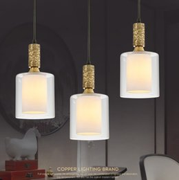 Wholesale Copper Kitchen Australia - European Copper Pendant Light Transparency Glass LampShade E27 Socket Luxury Ceiling Lamp Restaurant Bedroom Decorate Lighting LLFA